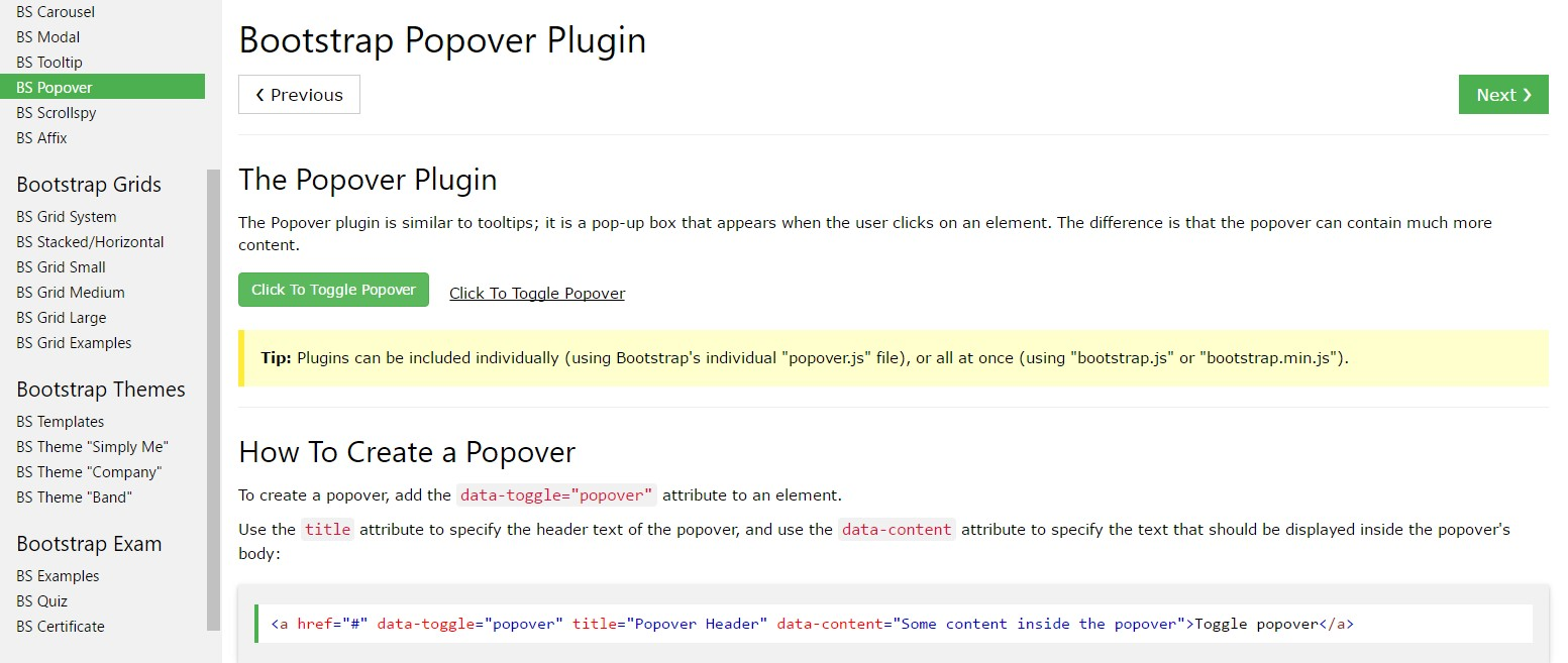 Bootstrap popovers  short training