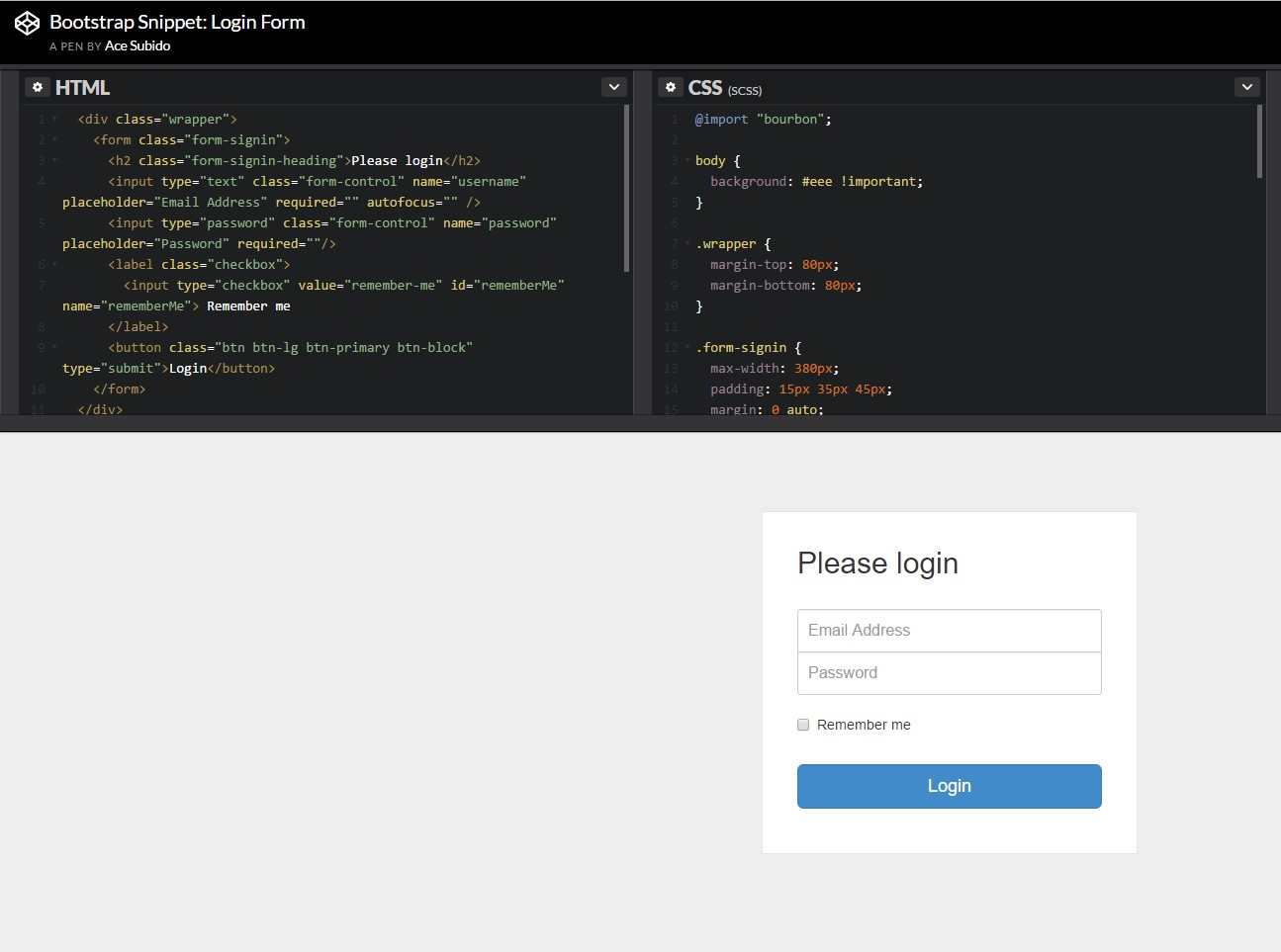 An additional example of Bootstrap Login Form