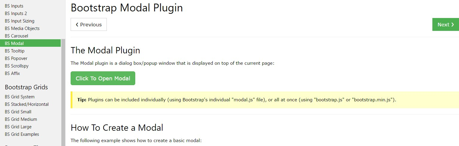 Bootstrap Modal Popup:  training  information